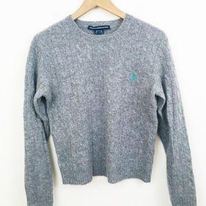 Ralph Lauren Gray Wool Cableknit Sweater